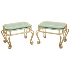Pair of Silver Leaf Low Tables with Beveled Glass Tops, Late 20th Century