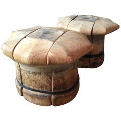 Pair of Vintage French Wooden Puzzle Hat Blocks