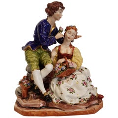"Capo Di Monte 18th Century Porcelain Figures ""Woman with basket and man"""