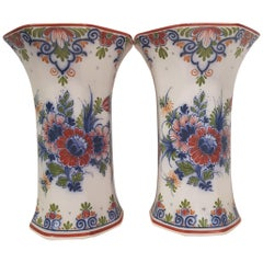 Couple of Hand-Painted Zenith Gouda Porcelain Vases