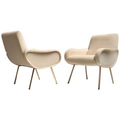 Zanuso Mohair 'Baby' Lounge Chairs, Early Wood Frames, Brass Legs, Arflex,1951
