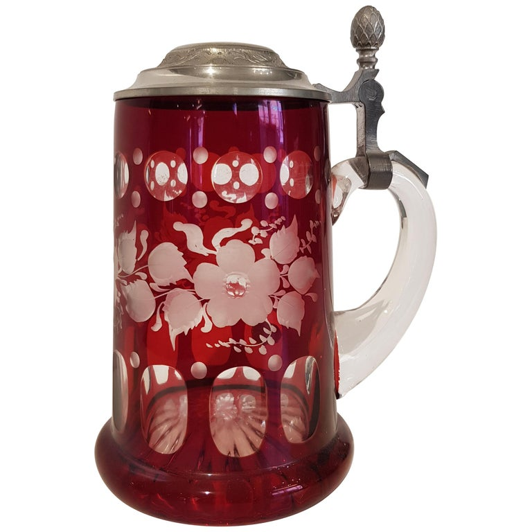 Art Deco Bavarian Crystal Mug For Sale