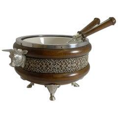 Rare Novelty English Figural Oak and Silver Plate Salad Bowl - Bull, 1888