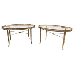 Mastercraft Brass Oval Side Tables, Pair