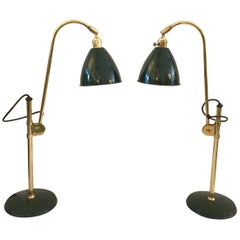 English Green Gooseneck Adjustable Table Lamps by OMI