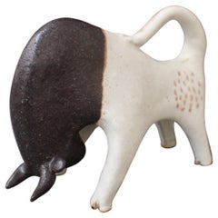 Ceramic Decorative Bull Sculpture by Bruno Gambone, Italy, circa 1970s