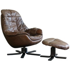 Danish Midcentury Brown Leather Egg Chair with Ottoman by H. W. Klein