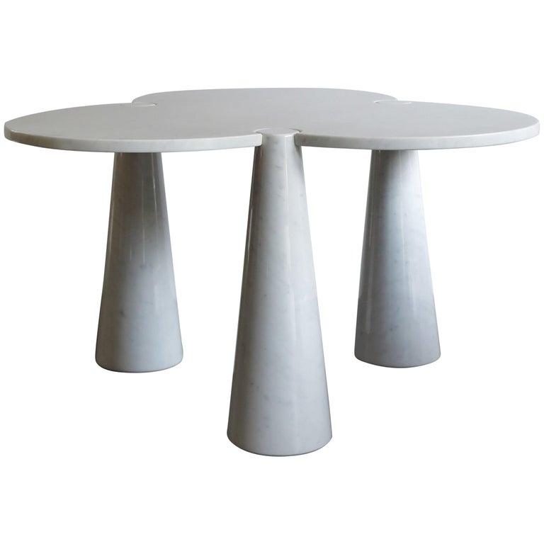 1970s Angelo Mangiarotti Italian Carrara Marble Table Serie Eros for Skipper