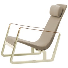 Vitra Cité Armchair in Beige Upholstery with Ecru Base by Jean Prouvé