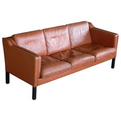 Classic Danish Børge Mogensen Model 2213 Style Sofa in Cognac Colored Leather