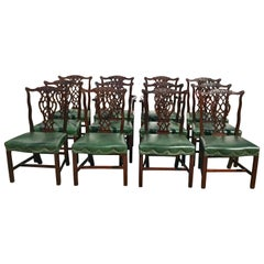Set of Twelve 19th Century Mahogany Chippendale Dining Chairs