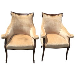 Vintage European Upholstered Armchairs Art Deco Set of Two