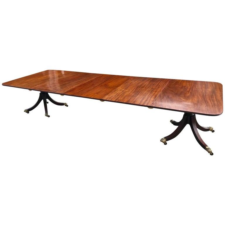 19th Century Regency Mahogany Two-Pedestal Dining Table