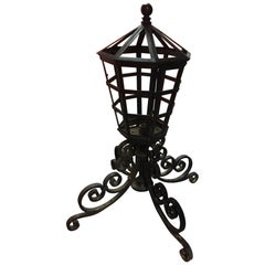 Pair of Pier Mount Iron Lights Adorned with Scrolls on Four Legs, 20th Century