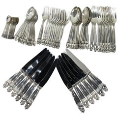 Georg Jensen Acorn Sterling Silver Complete Set for 12, 72 Pieces