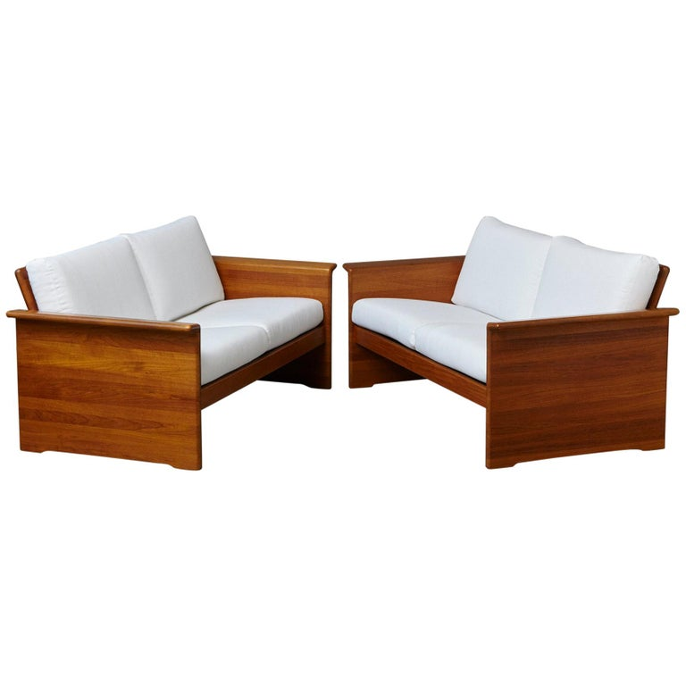 Two Newly Upholstered Tarn Stole Solid Teak Love Seats / Two-Seat, circa 1980s For Sale