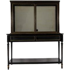 Late 19th Century Louis XVI Style Ebonized Display Cabinet