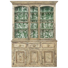 19th Century Cornish Hutch Vitrine in Original Paint