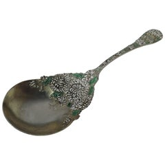 Antique Durgin Chrysanthemum Gilt Sterling Silver & Enamel Berry Spoon