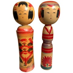 Old Japanese Pair of Famous Kokeshi Dolls Hand Painted Rich Vibrant Color
