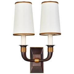 Exceptional Pair of Bronze Sconces by Dominique, France, 1940s