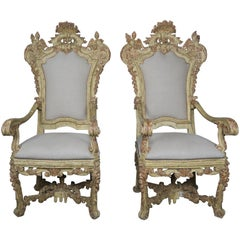 Pair of Italian Carved Painted Armchairs, 19th Century