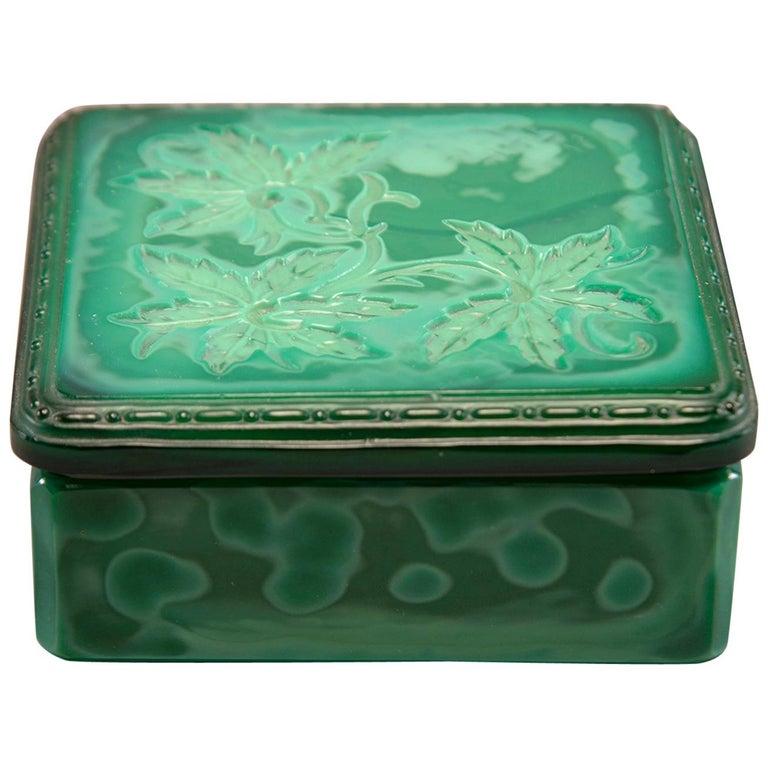 Art Deco Czech Malachite Glass Lidded Box