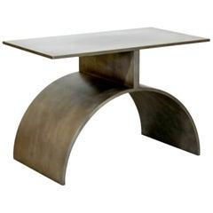 Contemporary Modern Modernist John Nesci Att. Brushed Aluminum Side End Table