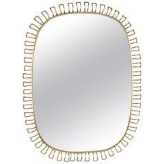 Mid-Century Modern Gio Ponti Style Brass Framed Mirror