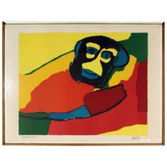 Mid-Century Modern Framed Hand Signed Serigraph of 75 Karel Appel, 1960s Monkey