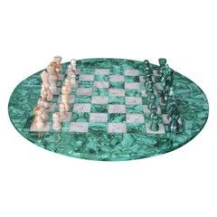 Malachite and Marble Chess Set