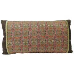 Brocade with Circular Design of Tigers and Phoenixes Lumbar Decorative Pillow
