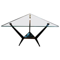 French Mid-Century Modern Triangular Shaped Iron and Glass Table