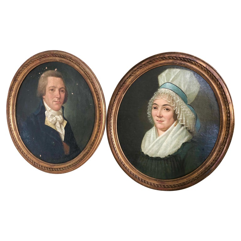 Pair of 18th Century Portraits, French