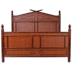 British Colonial Faux Burnt Bamboo and Grasscloth Queen Size Bed