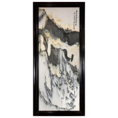 Chinese Tall Mountains Extraordinary Natural Stone Painting, One-of-a- Kind