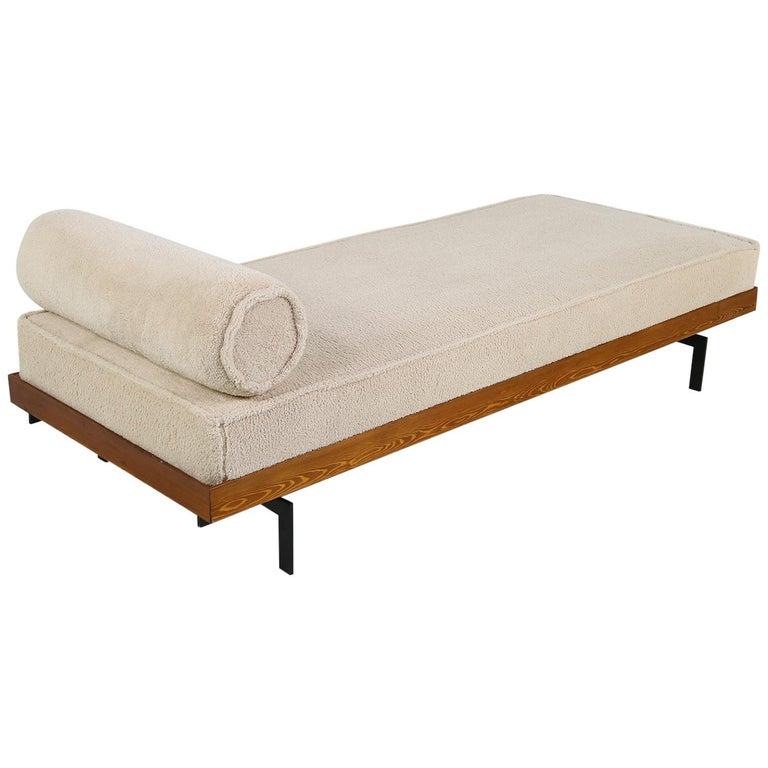 Nathan Lindberg Daybed Mod 31 Sofa Larch Wood, Steel, Teak, Beige Teddy Fur