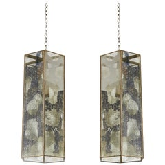 Pair of Contemporary Brass and Mercury Style Glass Pendant Lamps or Lanterns