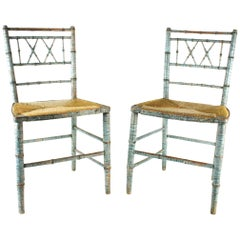 Pair of Regency Faux Bamboo Rush Seated Painted Chairs in Original Blue Paint