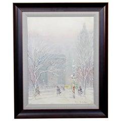 Midcentury Johann Berthelsen Framed Signed Impressionist Painting on Canvas