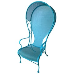 Mid-Century Modern Russell Woodard Canopy Patio Chair in Blue
