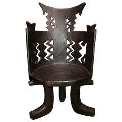 Gurage Tribal Carved Wanza Wood Throne Jimma Chair from Ethiopia