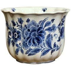 Late 20th Century Dutch Hand-Painted Faience Delft Cache Pot with Floral Decor