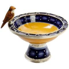 Ceramic and White Metal 'Alpaca' Bowl with Bird Centrepiece