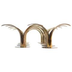 Set of Ten Swedish 'Liljan' Brass Candleholders by Ystad