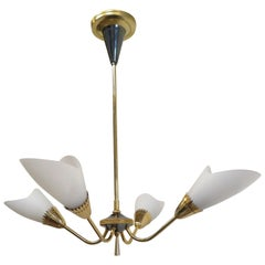 French Midcentury Brass Chandelier Maison Lunel
