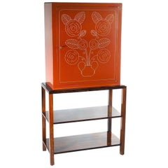 René Prou Carved Lacquer Chest on Frame