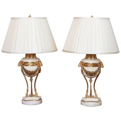 Pair of 19th Century French Louis XVI Marble Lamps
