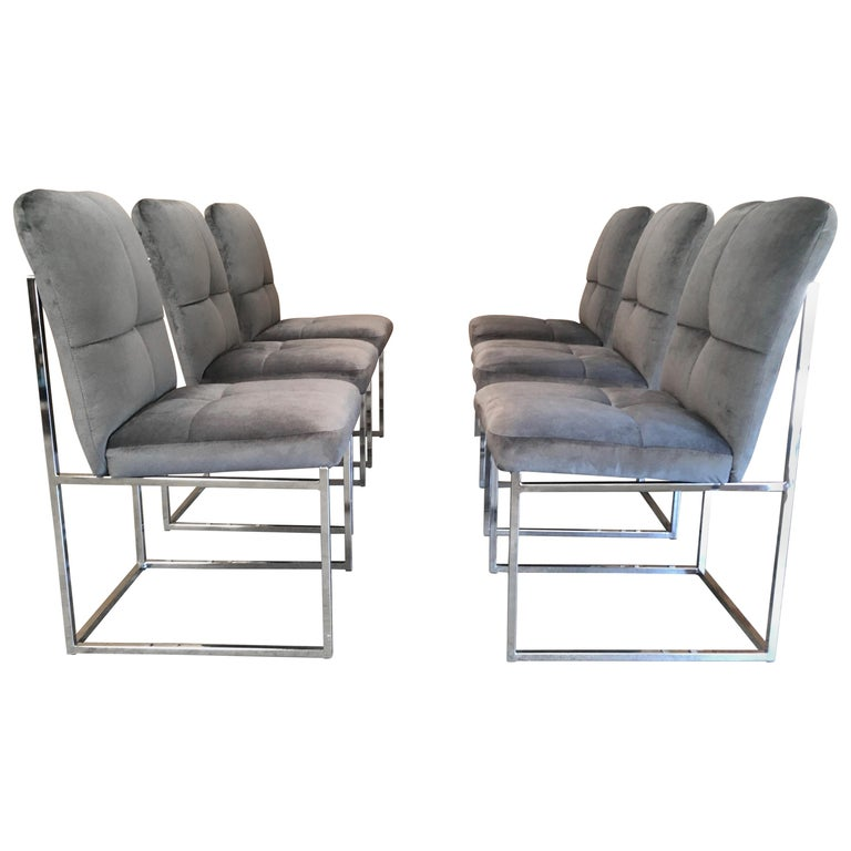 Chrome Dining Room Chairs: 6 Mid Century Milo Baughman Chrome Dining Chairs For Sale