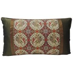 Brocade with Circular Design of Tigers and Japanese Warriors Lumbar Pillow
